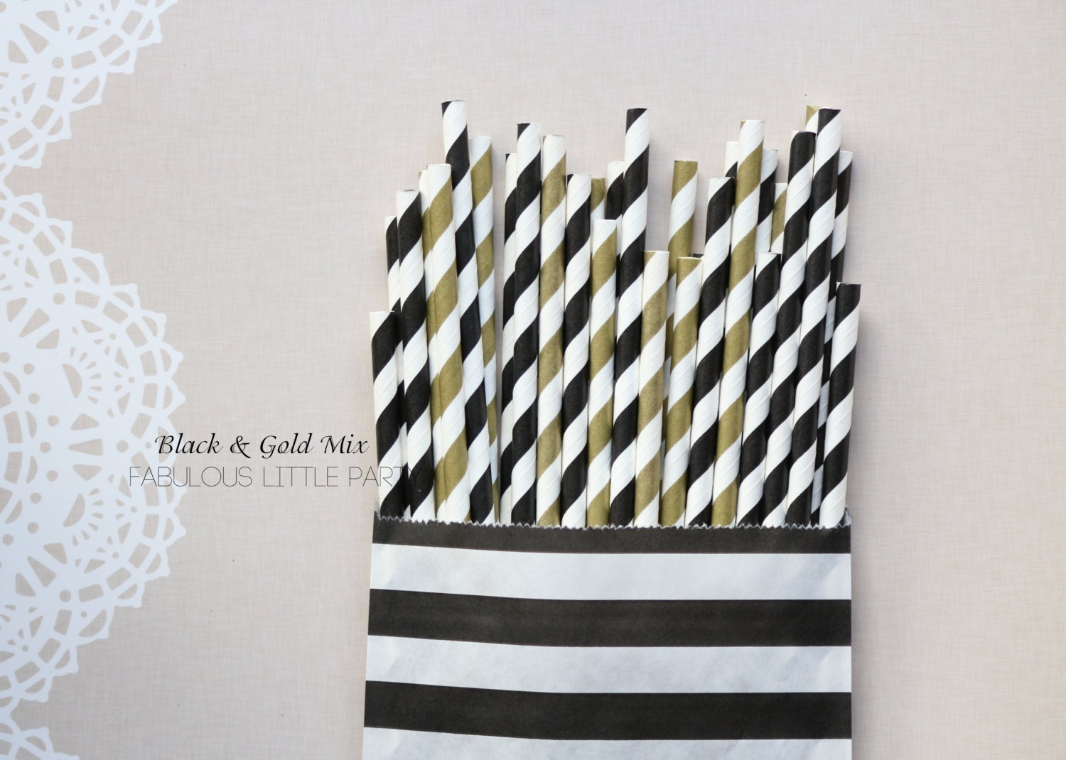 Black and Gold Party Straw Mix The Great Gatsby Bridal Shower/1st ...
