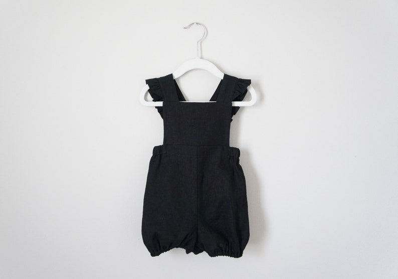 fa51668a9425 Linen Black Bubble Romper for girl baby girl clothes romper