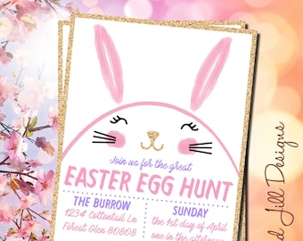 Easter Egg Hunt Party Invitation / Easter Bunny / Springtime Easter Party / Easter Party Invitations / Easter Card / Easter Bunny Decoration