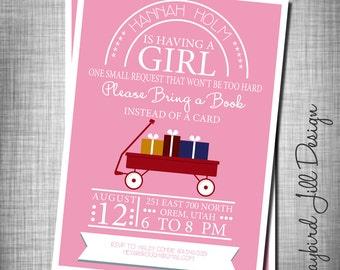 Book Theme Baby Shower Invitation, Baby Girl Shower Invite