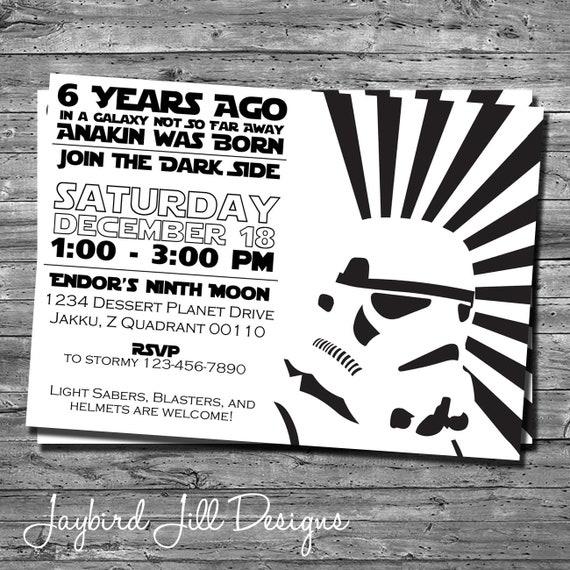 Stormtrooper Birthday Party Invitation Star Wars Theme