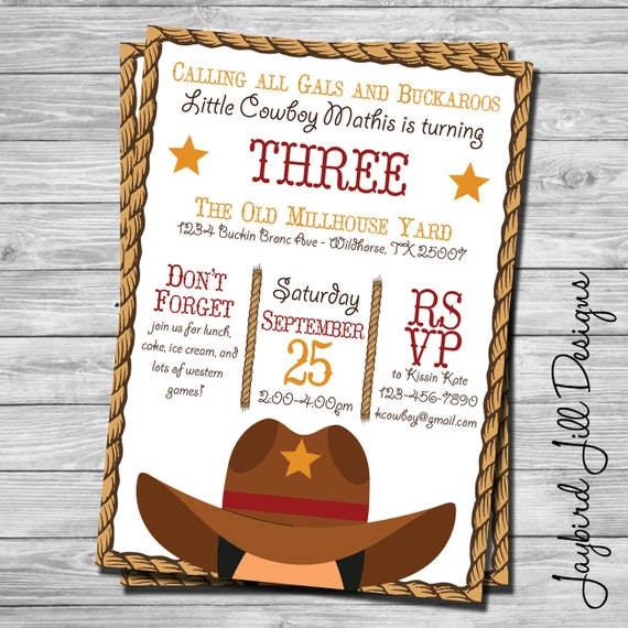 cowboy birthday invitation wild west theme western party etsy