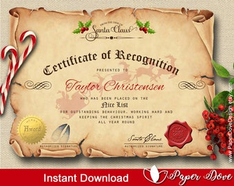 Certificate from Santa - Nice list - Template EDITABLE & PRINTABLE - Instant Download - DIY - by Paper Dove Design