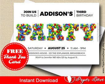 image regarding Lego Birthday Card Printable named Lego birthday card Etsy