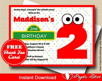 Inspired Sesame Street Invitation| Elmo Invitation| Thank you card -You EDIT with Adobe Reader&PRINT- Instant Download- DIY- Paper Dove