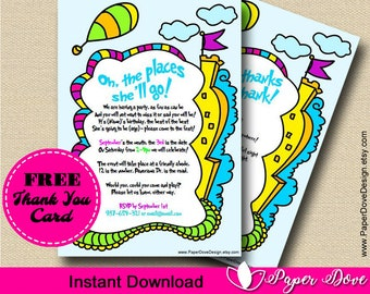 """Inspired Dr Seuss Invitation 5x7"""" 