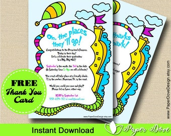 """Inspired Dr Seuss Graduation Invitation 5x7"""" 