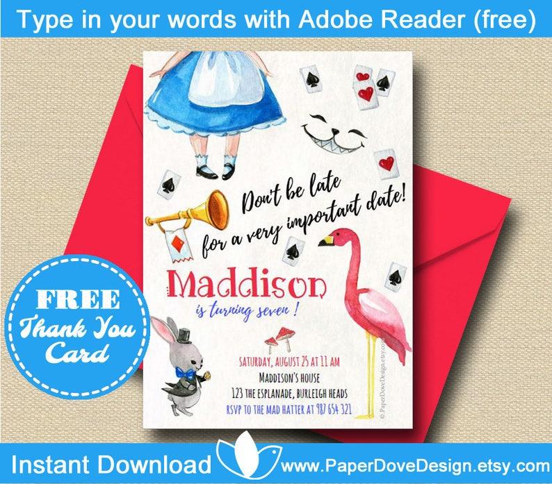 Alice In Wonderland Invitation 5x7