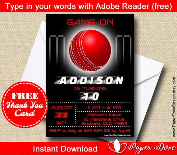 Cricket Invitation 5x7 Free Thank You Card You Edit With Adobe Reader Print Instant Download Diy Paper Dove Design