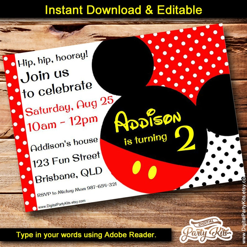 Inspired Mickey Mouse Invitation Editable Printable Do Etsy