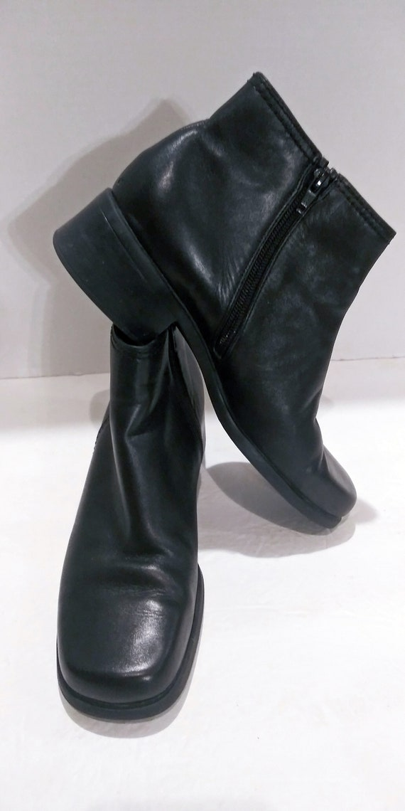 Womens Leather Boots, Black Leather Boots, Vintage
