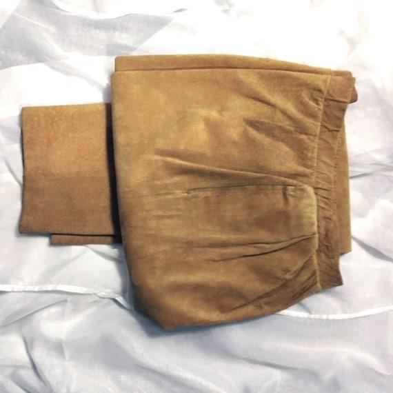 Vintage Gold Suede Pants, Leather Pants, 100% Genu