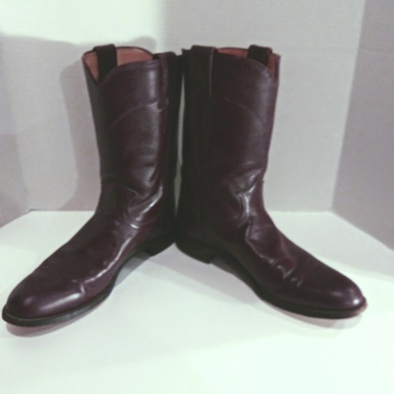 Justin Leather Boots, Women's Burgundy Boots, Vint