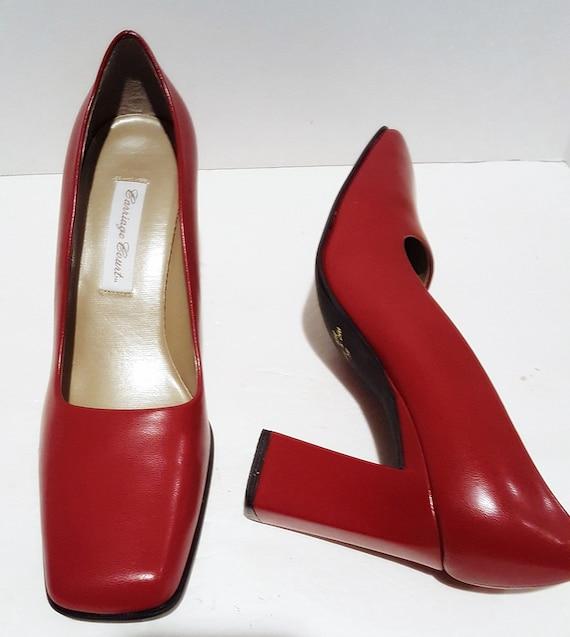 Red Block Heels, Vintage Heels, Red Chunky Heels,… - image 1
