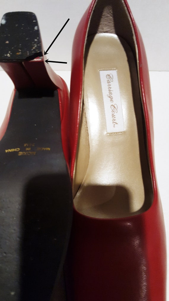 Red Block Heels, Vintage Heels, Red Chunky Heels,… - image 4
