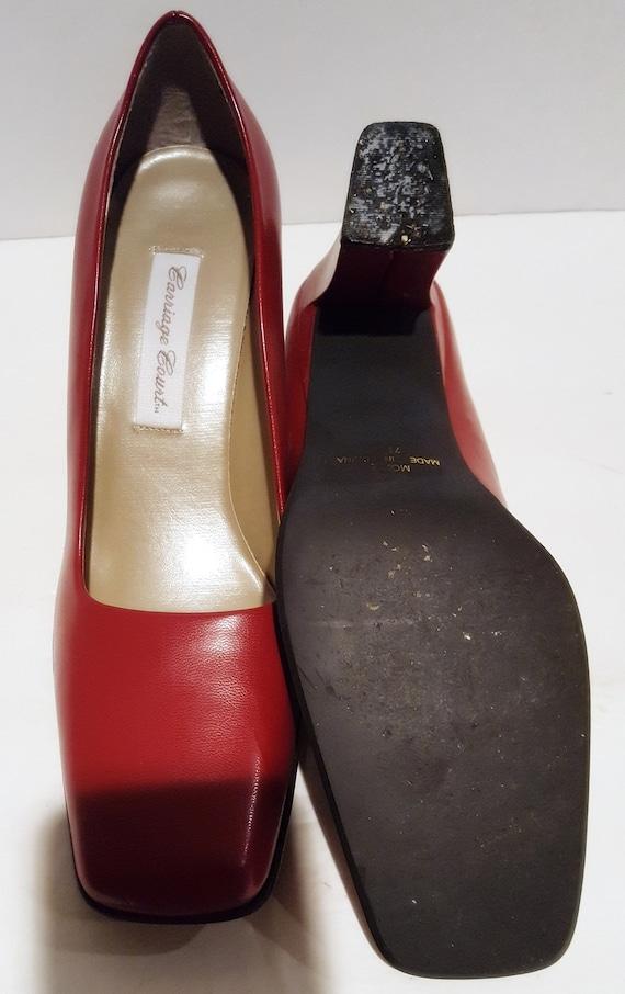 Red Block Heels, Vintage Heels, Red Chunky Heels,… - image 7