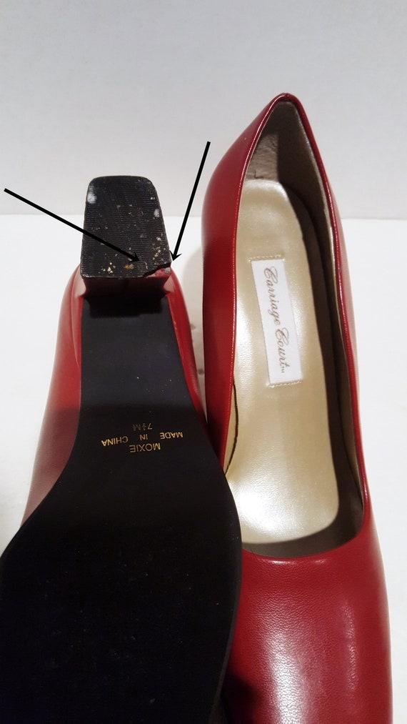 Red Block Heels, Vintage Heels, Red Chunky Heels,… - image 10
