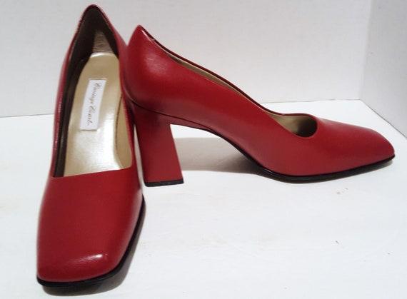 Red Block Heels, Vintage Heels, Red Chunky Heels,… - image 9
