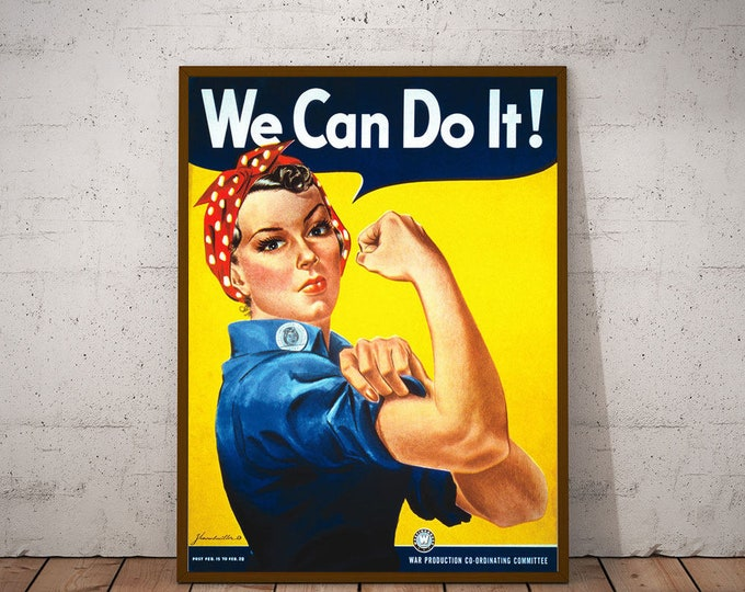 Feminist Poster WWII Poster Rosie The Riveter Girl Power Poster Feminist Wall Art Poster for Girl's Room Poster Feminist Wall Art