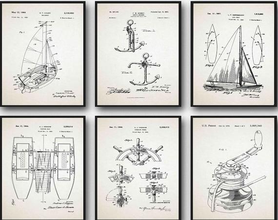 Sailing Decor Set of 6 nautical Prints Ship Posters Boat Prints Gift for Sailor Gift Fishing Gift Marine Decor Marine Prints WB245A-6