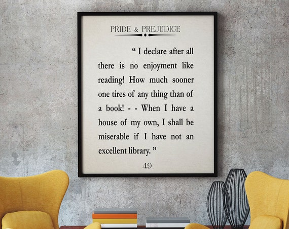 Pride and Prejudice Quote Jane Austin Quote Reading Quote Literature Quote Reading Quote Library Wall Art Library Decor Jane Austin Print