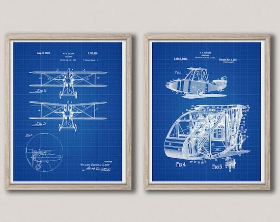Airplane Poster Set of 2 Airplane Prints Gift for Airplane Enthusiast Airplane Nursery Airplane Decor Airplane Theme Airplane Art WB312-313
