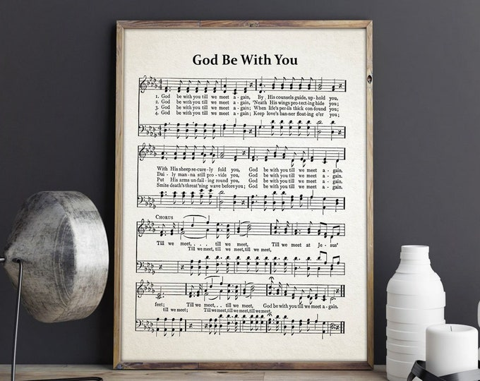 God Be With You Hymn Sheet - Hymn Music Decor - Hymn Poster - Church Music Gift