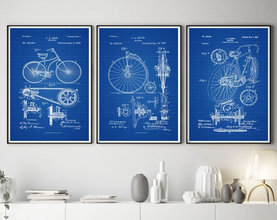 Cycling Posters Set of 3 Bicycle Patent Prints Vintage Bicycle Inventions Cycling Inventions Tour de France Cyclist Gift Biker WB374-WB376