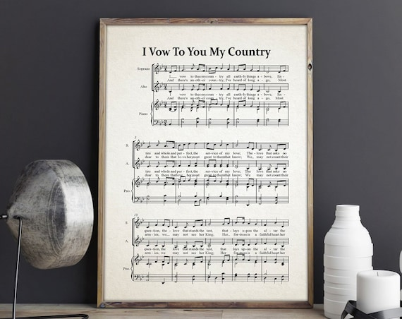 I Vow To You My Country Music Sheet Patriotic Hymn Patriot Music Sheet Military Music Military Gift for Soldier Gift Military Hymn Armistice