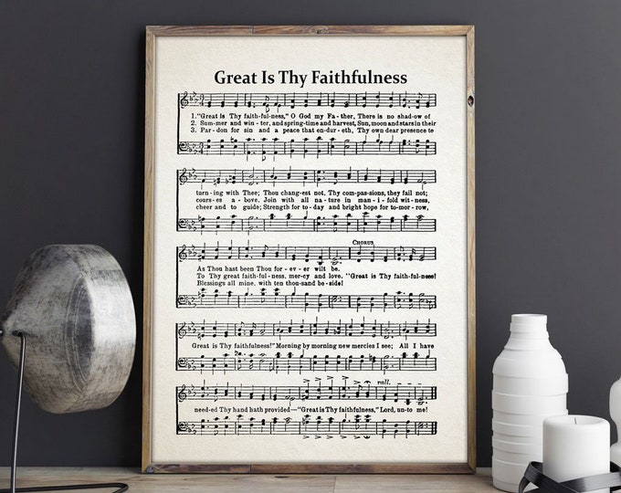 Great Is Thy Faithfulness Hymn Sheet Music - Church Sheet Music - Christian Hymn Print