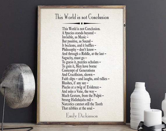 This World is not Conclusion by Emily Dickinson Poem Emily Dickinson Poetry Famous Poem Prints Large Poem Page Poetry Poster Literature Post