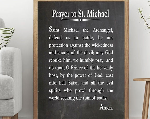 Prayer to St Michael the Archangel Christian Prayer Print