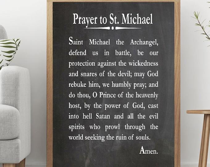 Prayer to St Michael the Archangel Christian Prayer Print