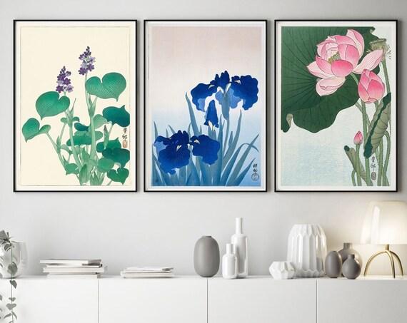 Japanese Flower Prints Japanese Decor Japanese Posters Japanese Prints Set of 3 Flowers Wall Art Flower Art Flower Illustration Decor Room