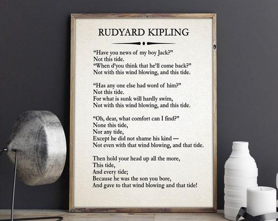 My Boy Jack by Rudyard Kipling Poem Kipling Poetry War Poem War Poetry Military Print Military Wall Art Peace Poem Peace Poster