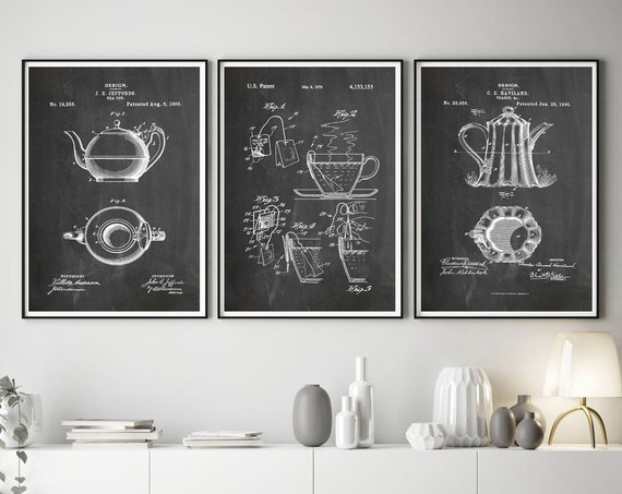 Tea Room Decor Tea Kitchen Print Set of Tea Patent Posters Tea Wall Art Tea Posters Cafe Decor Cafe Wall Art Cafe prints Teapot WB272-274