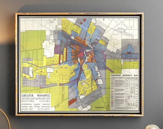 Winnipeg Map 1947 Vintage Map Poster Vintage City Map