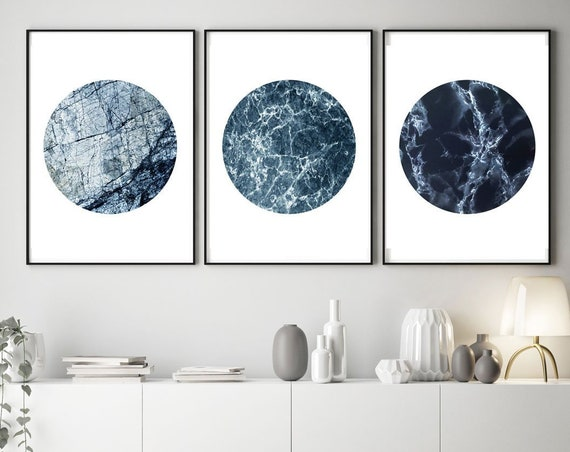 Blue Marble Prints Set of 3 Blue Marble Circles Blue Wall Art Blue Swirl Decor