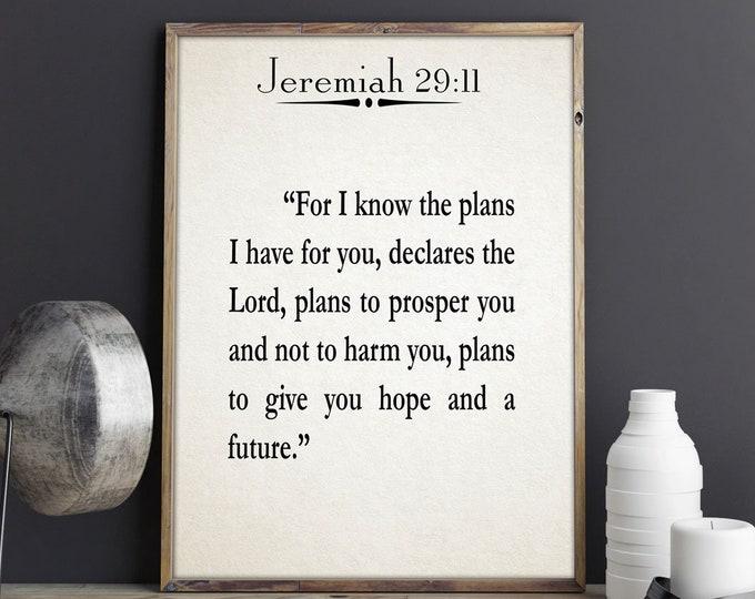 Inspiring Scripture Quote Jeremiah 29:11 Bible Wall Art Bible Quote Bible Gift Scripture Poster Religious Wall Art Scripture Prints