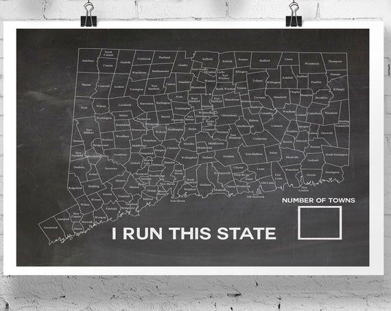 I Run This State Connecticut - Map for Connecticut State Runners - Connecticut County Map