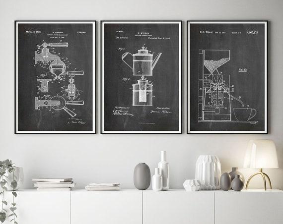 Coffee Decor Cafe Wall Art Coffee Patent Prints Coffee Percolator Coffee Machine Coffee Art Coffee Shop Art Coffee Shop Decor WB261-262-263