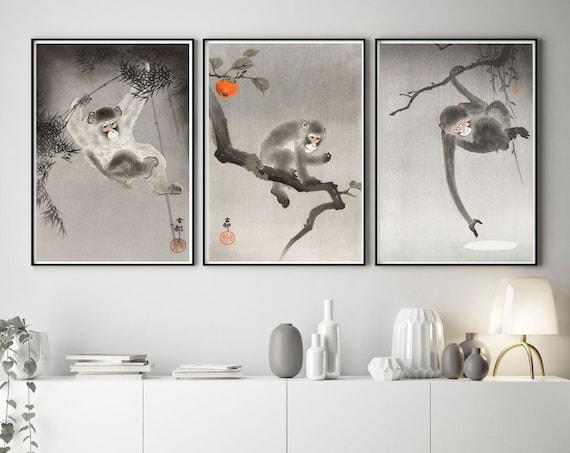 Monkey Posters Set of 3 Woodblock Prints Japanese Posters Japanese Decor Japanese Prints Monkey 3 Print Decor Interior Decor Unique Wall Art
