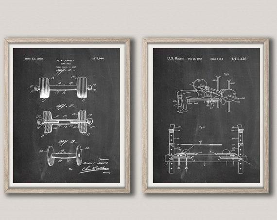 Gym Decor Gym Decor Home Gym Decor Home Gym Posters Gym Prints Gym Art Prints Weight Lifting Gift Weights Patent Prints Weights WB282-WB285