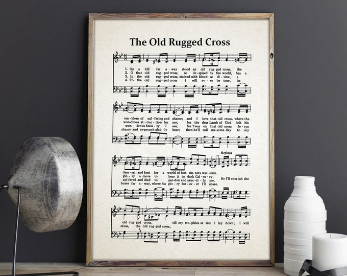 The Old Rugged Cross Hymn Print Old Rugged Cross Poster Hymnal Prints Hymn Wall Art Hymn Poster Scripture Quote Hymn Sheet Music Sheet Print