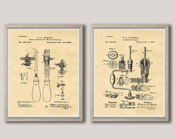 Wood Working Gift for Wood Turner Wood Shop Decor Chisel Patent Print Bit Brace Patent Poster WB412-WB413