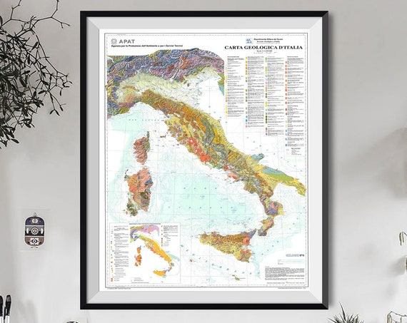 Geological Map of Italy Poster Italian Decor