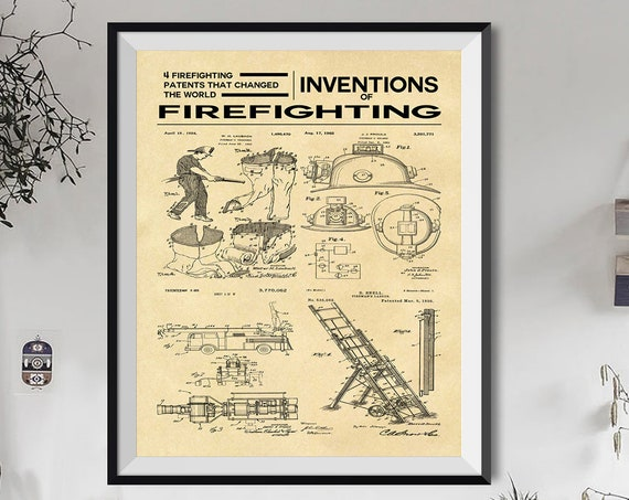Fire Station Poster Fireman Poster Inventions of Firefighting