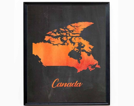 Canada Map of Canada Canadian Decor Canadian Wall Art Canada Poster Canada Print Toronto Poster Montreal Poster Vancouver Print Canadian Map