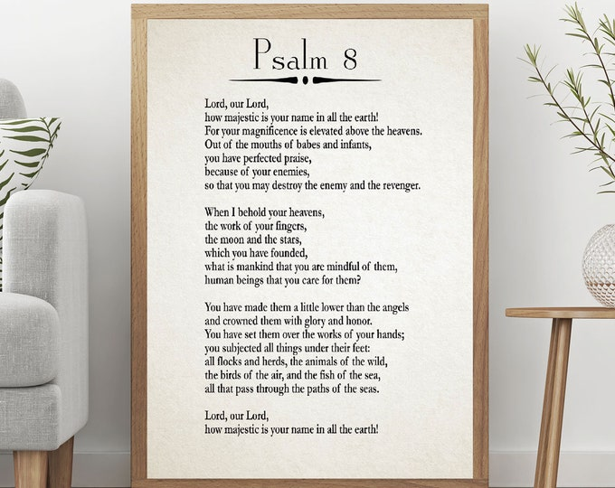 Psalm 8 Print Psalm Poster Bible Poster Bible Wall Art Christian Poster