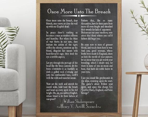 Once More Unto the Breach Shakespeare Speech Henry V Speech